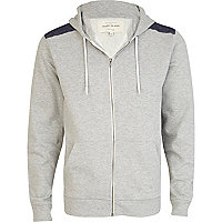 Grey marl quilted denim shoulder patch hoodie
