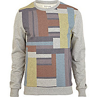 Grey marl colour block print sweatshirt