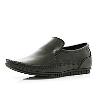 Black slip on smart moccasins