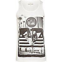 White Cali dreaming photo print vest