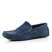 Blue suede perforated boat shoes