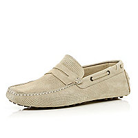 Stone suede perforated boat shoes