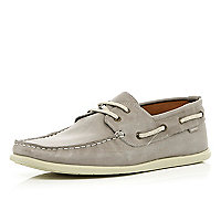Grey lace up soft boat shoes