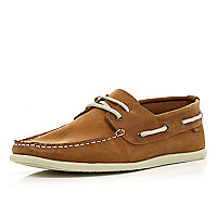Brown lace up soft boat shoes
