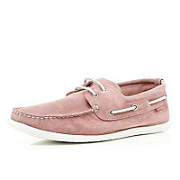Pink suede boat shoes