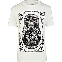 Ecru russian doll tattoo print t-shirt