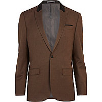 Brown single breasted slim suit jacket