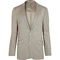 Stone slim fit suit jacket