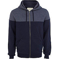 Navy colour block yoke hoodie
