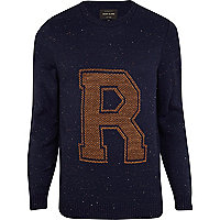 Navy fleck R jumper
