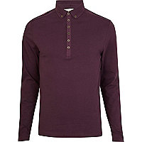 Purple long sleeve military polo shirt