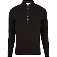 Black long sleeve military polo shirt