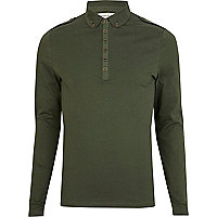 Green long sleeve military polo shirt