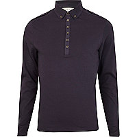 Navy long sleeve military polo shirt