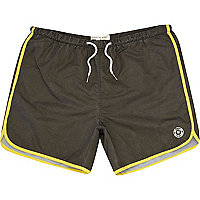 Black contrast trim runner swim shorts