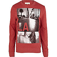 Red LA photograph print sweatshirt