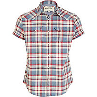 Blue and red check short sleeve shirt