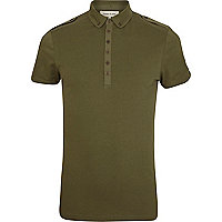 Green penny collar military polo shirt