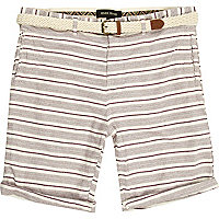 Berry red stripe belted turn up shorts