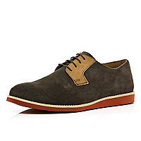 Brown flat sole lace up shoes