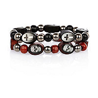 Black skull and cross bead bracelet pack