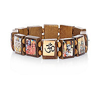Brown wooden tile print bracelet