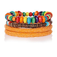 Orange rope and bead bracelet pack