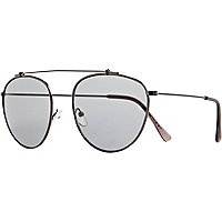 Grey metal aviator sunglasses
