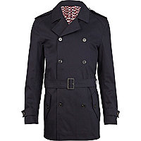 Navy blue belted smart jacket