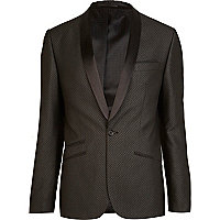 Black jacquard pattern slim suit jacket