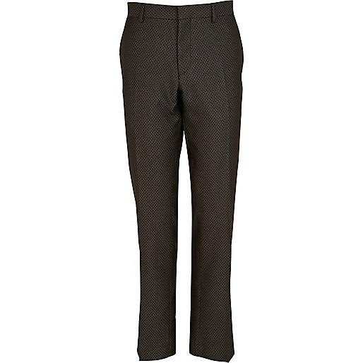Black jacquard pattern slim suit trousers