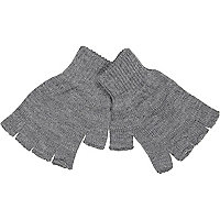 Grey lightweight fingerless gloves