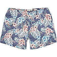 Blue floral print washed swim shorts