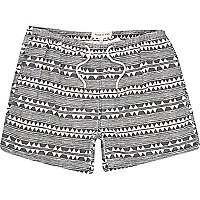 Black zig zag print swim shorts