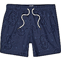 Blue printed swim shorts