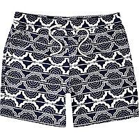 Blue linear floral print swim shorts