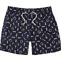 Blue rope print swim shorts