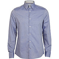 Blue high collar long sleeve shirt