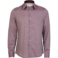Pink chambray high collar shirt