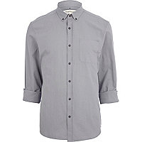 Grey roll sleeve oxford shirt