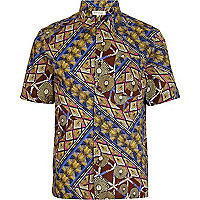 Brown tribal print short sleeve shirt