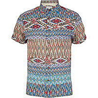Blue tribal print short sleeve shirt