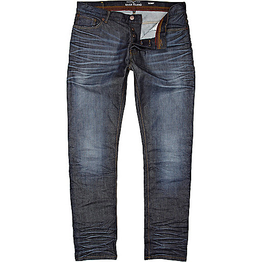 Dark wash coated Flynn skinny jeans