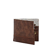 Brown block panel fold over wallet