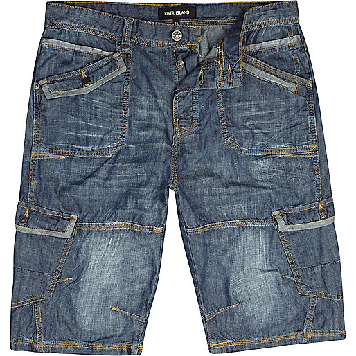 Mid wash cargo denim shorts