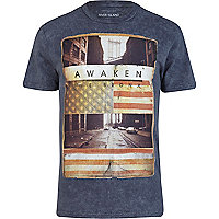 Blue acid wash bronx print t-shirt