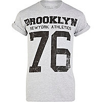 Grey brooklyn athletic print t-shirt