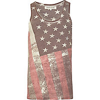 Ecru washed flag print vest top
