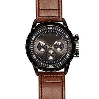 Brown triple dial round watch