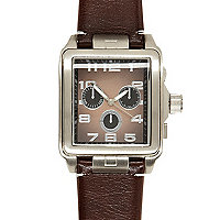 Brown square face watch